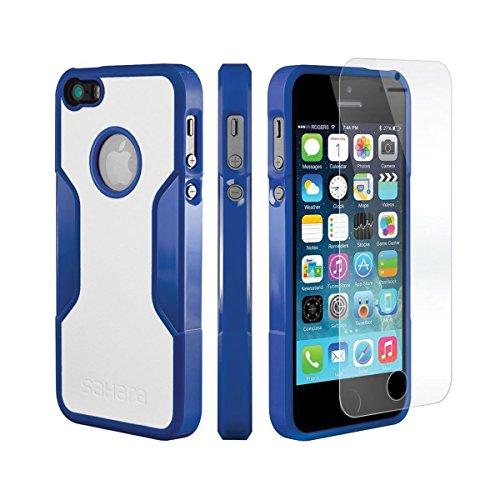 iPhone 5 5s SE Hülle, (Schwarz, Grau) SaharaCase Schutz Kit Paket mit Null Schaden [ZeroDamage gehärtetes Glas Bildschirmschutz] Robuster Schutz Anti-Rutsch-Griffigkeit [Stoß sicherer Puffer] Schlanke Blau