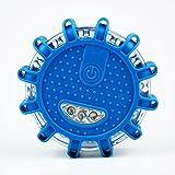 Faro LED Road Flares disco di emergenza spia lampeggiante Roadside Flare, base magnetica per auto o marine boat- antipioggia blu, confezione da 1