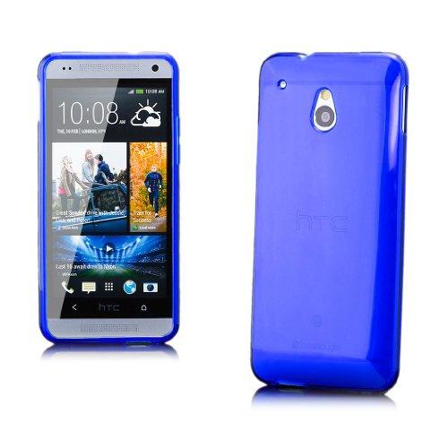 iCues HTC One Mini M4 |  Transparent TPU Case Blau | [Display Schutzfolie Inklusive] Transparent Klarsichthülle Durchsichtig Klare Klarsicht Silikon Gel Schutzhülle Hülle Cover Schutz