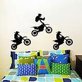 Adesivi murali salto moto Bike moto motocross Extreme Jumping sport Kids Children Gift vinyl Wall Sticker decorazione murale decalcomania