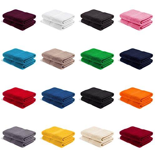 2er PACK EllaTex Saunatücher XXL / Saunahandtücher / Saunalaken / Strandtücher 100x200 cm 100% Baumwolle - 500 Gr/m², in Farbe: Anthrazit-Grau