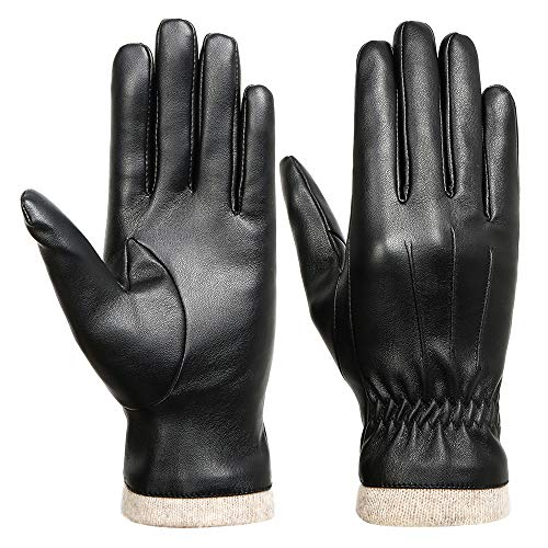 Acdyion Damen Winter PU Lederhandschuhe Schwarz Touchscreen Handschuhe Winter warme Handschuhe mit Wolle (Large)