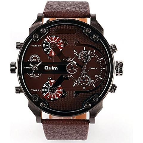 Chicos grande redondo PIXNOR Oulm 3548 hombres marcar cuatro tiempo pantalla reloj de pulsera de cuarzo con banda PU (marrón)