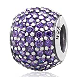 Choruslove Pave Lights Charms with Tanzanite Cubic Zirconia Birthstone Authentic 925 Sterling Silver Bead for Major Brand European Bracelet Jewelry