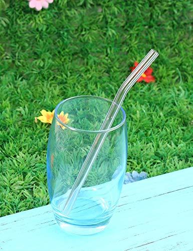 Ceanfly Glas-Strohhalme - Farbige 3 Stück Gerade, Gebogen + Reinigungsbürste +Schachtel +Reinigungstuch Glasstrohhalme : gesund, Wiederverwendbar, umweltschonend, frei von BPA