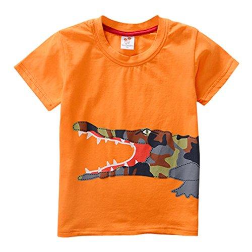 JERFER Kleinkind Kinder Baby Jungen Mädchen Kleidung Kurzarm Cartoon Tops T-Shirt Bluse (Hellorange, 3T) (Kleidung Jungen Für 50er Jahre)
