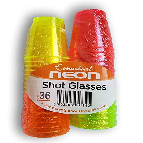 ESN 40 Neon Einweg-Plastik Trinken Schuss Tassen Glas Party Rave (Schuss Einweg-gläser)