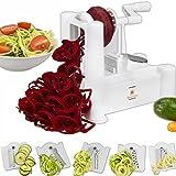 Brieftons Cortador de vegetales y frutas en espiral, pelados, 5 hojas, apto también para hacer pasta