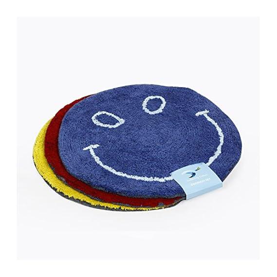 Siya Ram Furnishing Cotton Smiley Bath Door Mat - Set of 3 (Multicolour)