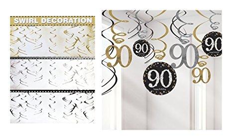(Feste Feiern Geburtstagsdeko Zum 90 Geburtstag | 27 Teile All In One Set Spiralen Swirl Deckenhänger Gold Schwarz Silber Party Deko Happy Birthday)