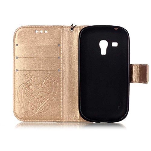 Prägen Blumen-Case, Magnetverschluss Synthetische PU-Leder-Kasten-Abdeckung mit hängenden Seil und Wallet-Funktion für Samsung S3 Mini-I8190 ( Color : Pink , Size : Samsung S3mini I8190 ) Gold