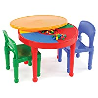 Tot Tutors  Kids 2-in-1 Plastic LEGO-Compatible Activity Table and 2 Chairs Set (Red,Green,Blue,Yellow)