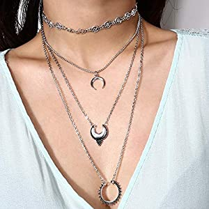 XUHAHAXL Halskette/Retro-Folk-Stil Ornamente, Multi-Layer-Legierung Zubehör, Sexy Straße Schlüsselbein Halskette