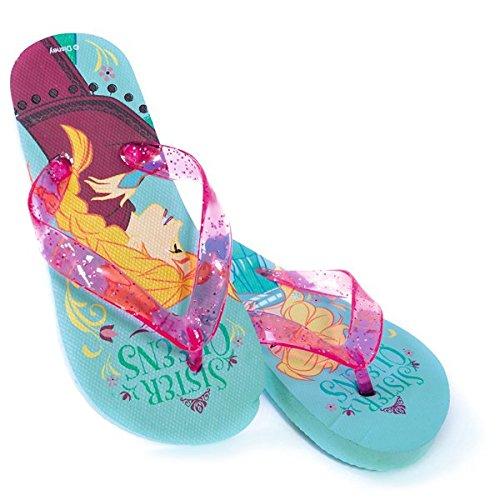 DISNEY Disney Die Eiskönigin - Zehenstegsandalen mit Elsa- & Anna-Motiv - Pink / Türkis - 27/28