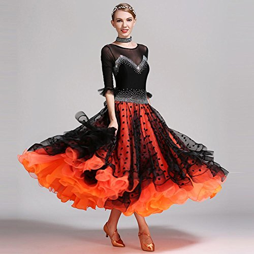 Wanson Dance Rock Kostüme Luxus Wettbewerb Frauen Performance Tanzkleidung Standard Tanz Kleider (Lycra Gewebe Für Tanz Kostüm)