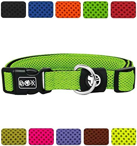 DDOXX Hundehalsband Air Mesh in vielen Farben & Größen für kleine & große Hunde   Halsband Hund Katze Welpe   Katzenhalsband klein   Hunde-Halsbänder breit Leuchtend   Grün, XS