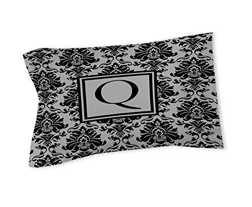 Manuelle holzverarbeiter & Weavers Kissen Sham, Standard, Monogramm Buchstabe F, schwarz und grau damast (Blatt Set Full Tröster)