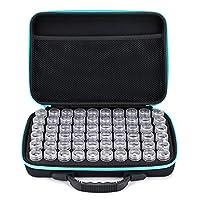 Sumnacon 60 Bottles Diamond Painting Storage case Embroidery Storage Box,Art Craft Jewelry Beads Sewing Pills DIY Accessory Organizer (Blue)
