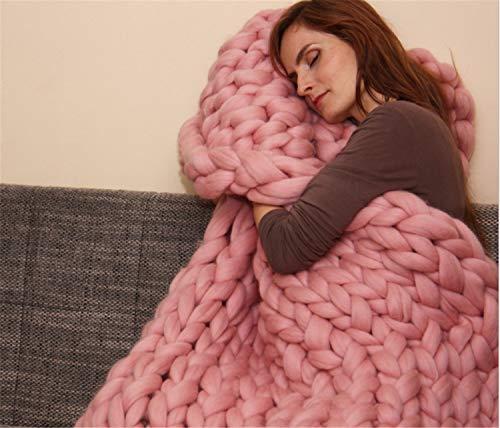 UNIQUE-F 200x200 cm handgemachte klobige strickdecke Wolle werfen wohnkultur Multicolor Wahl Sofa Bett Dicke Yoga Pink -