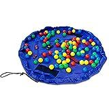 Spielzeugsack Entfaltbar zur Spieldecke - Blau Durchmesser 150 cm - Spielzeugbeutel Spielzeug Aufbewahrung - Grinscard