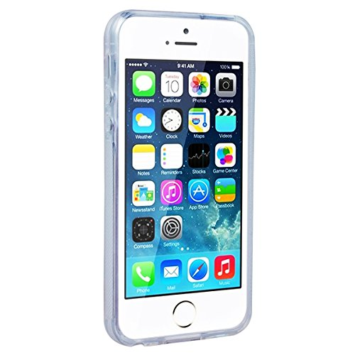 Yokata iPhone SE / iPhone 5 / iPhone 5s Transparent Weich Silikon Gel Crystal Clear TPU Case Handyhülle Schutzhülle Schale Etui Durchsichtig Ultra Slim Backcover Silicone Bumper Protective Cover mit P Kirsche Blüht