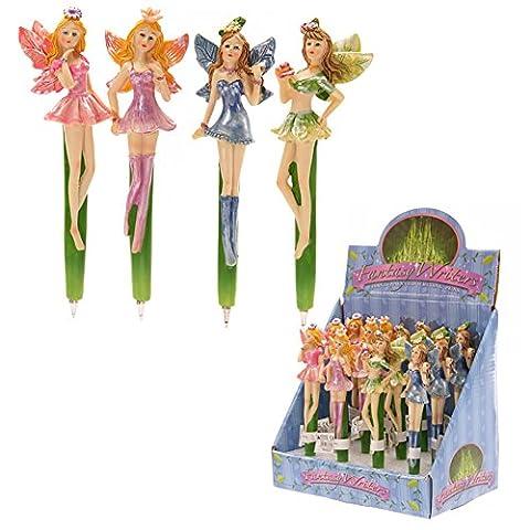 1 Stylo bille figurine fée- 4 couleurs au choix violet, bleu, rose, verte - statuette fée, fairy