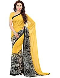 Krishna Emporia Women's Georgette Printed Saree With Blouse Piece - KE Sarees 284_Yellow And Black_Free Size