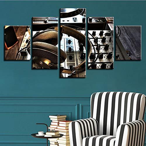lglays(Kein Rahmen Leinwand Hd Gedruckt Bilder Wohnzimmer Wandkunst 5 Stücke Dj Set Kopfhörer Gemälde Modulare Wohnkultur Musik Poster