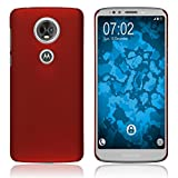 PhoneNatic Case kompatibel mit Motorola Moto E5 Plus - Hülle rot gummiert Hard-case Cover