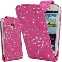 GADGET BOXX BLING DIAMANT GLITZER FLIP LEDER TASCHE CASE HÜLLE IN Pink-Samsung GALAXY S3 MINI I8190