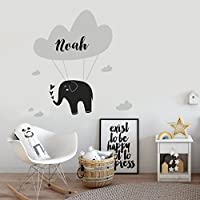 Personalised Elephant Cloud Hearts Wall Art Sticker Girls Boys Unisex Baby Nursery Bedroom Any Name Text Initial Monogram Kids Childrens Custom Decal Mural Vinyl Room Decor