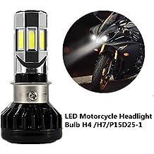FEZZ Bombilla LED de Faro Motocicletas 35W H4 H6 S2 BA20D P15D25-1 Luz Delantera con Ventilador Refrigeración 6 LED Hi Lo Haz 3500Lm 6000k Blanco Moto