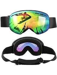 WEINAS® Gafas de Esquí Unisex Gafas de Snowboard Resistentes Antivaho con Protección UV400 Anti-Niebla 3 Capas de Espuma Lente Doble PC Esférico Gafas de Nieve con Gran Campo de Visión Gafas para Esquiar/ Deportes de Invierno/ Actividades al Aire Libre