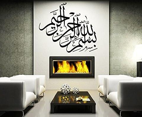homemay PVC Wandtattoo Aufkleber Glas Kamin den Muslim Islamische Kalligraphie Gemälde Dekorative removablewallpaper60cm x70cm, violett, 60 cm x70 cm
