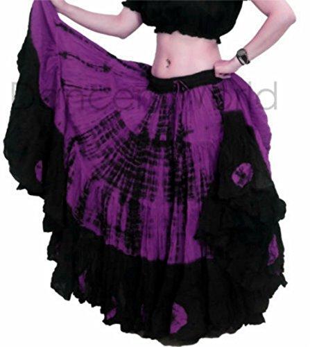 25 Yard Yards Tribal Gypsy Cotton Belly Dancing Dance Skirt ATS L36inch - TIE DYE DESIGN NOIR VIOLET