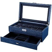 Songmics Caja joyero de 2 niveles Organizador para 10 relojes ajorcas pulseras Azul JWB012L