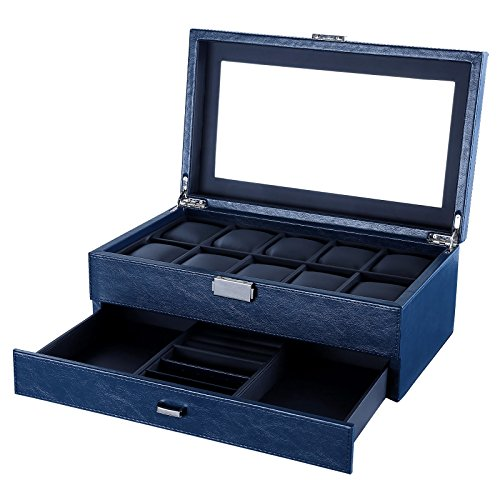 songmics-watch-display-box-with-10-slots-mdf-pu-glass-blue-jwb012l