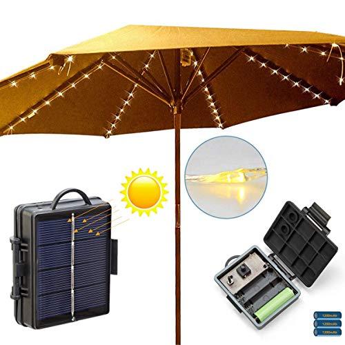 Terrasse Freischwinger Regenschirm Lichter, Solar lichterketten Draussen Markt Tisch Regenschirme dekorative Lichter, 8-Ribs 104 LED, 8-Mode, Twinkle Lichterketten für Weihnachtsbaum -- warmweiß