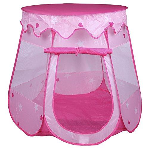 IDIMEX Spielzelt Spielhaus Girly, in Rosa/Pink, mit Prinzessinen Motiv und Abnehmbarem Dach für Mädchen