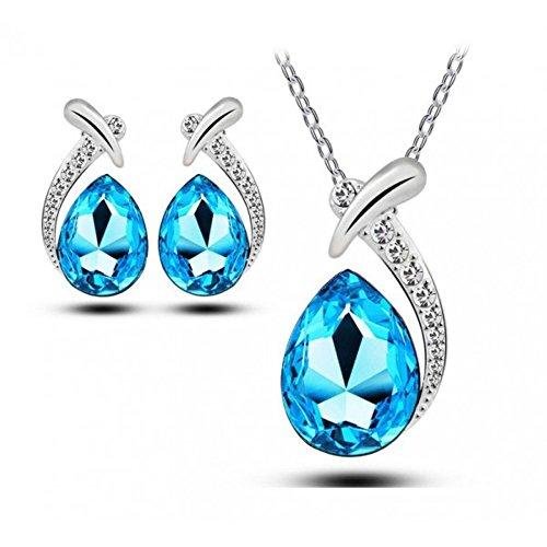 Parure goutte et cristaux swarovski elements plaqué or blanc Bleu turquoise