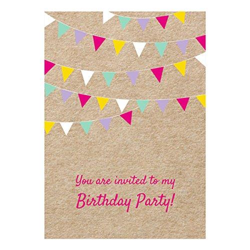The Card Gallery Vintage Party Wimpelkette Geburtstag Einladungen–Pack von 10–18, 21, 30, 40, 50, General (Keine Alters), beige, No Age