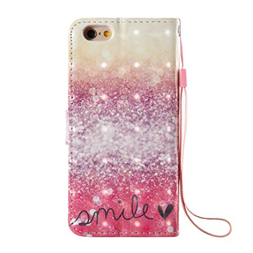 Folio iPhone 6 Housse, Coque iPhone 6S Case, iPhone 6 PU Etui, Moon mood® 4.7 pouces PU Cuir TPU Intérieur Étui Telephone Portable Housse Cas Coquille Couvrir Coverture Pare-Chocs iPhone 6S PU Leather 1-Smile