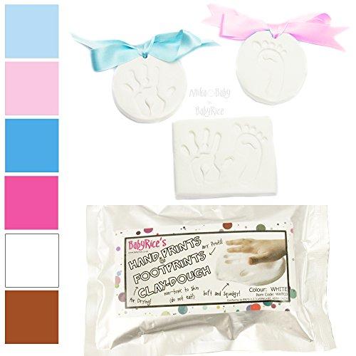 BabyRice, weichen Ton Teig für Baby-Handabdrücke Spuren Air Trocknen Impressum Impressions Kit (weiß Clay)