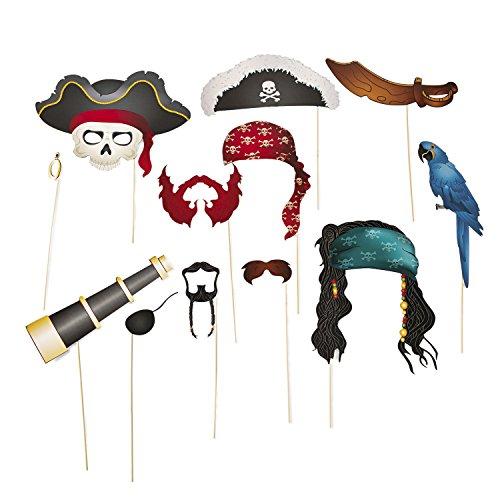cama24com Piraten Foto-Accessoire Hut Bandana Kopftuch Bart Haare Schwert Palandi®