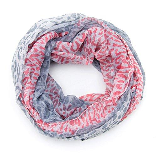 MANUMAR Loop-Schal für Damen   Hals-Tuch in grau rot mit Animal Print Motiv als perfektes Herbst Winter Accessoire   Schlauchschal   Damen-Schal   Rundschal   Geschenkidee für Frauen und Mädchen