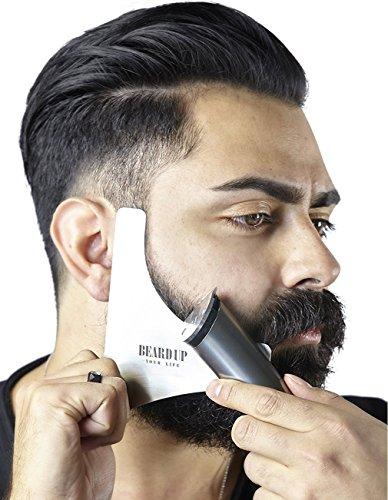 Plantilla de barba de acero I Inoxidable I Resultados como el peluquero I Contornos limpios I Barba simétrica Estilismo fácil I Plantilla para el cuidado simple de la barba I Made in Germany
