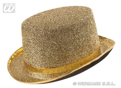 Zylinder Hut Gold Bowler Glitter glänzend Hochzeit De Luxe Glamour Sir England