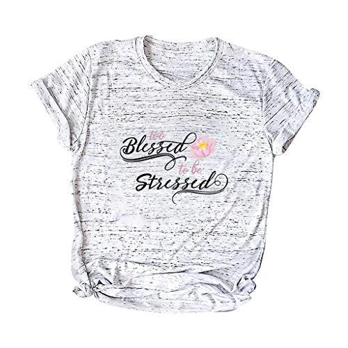 Femme Frühling und Sommer Blouse,Rifuli® O-Ausschnitt Kurzarm Taschensack Plus Size Cotton Tee Casual Top T-Shirts Shirts Blusen Bekleidung Damen