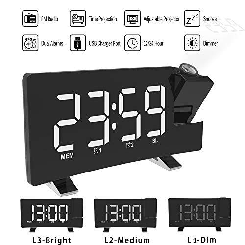 ALLOMN Reloj Despertador de Proyección, Reloj Despertador Digital FM Radio con Pantalla Curva/Proyección...