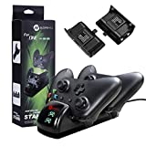 Xbox One Controller Ladestation Xbox One Controller Ladegerät, slopehill Dual Docking Ladestation, mit 2 Akkus 2-3 Stunden Laden 10 Stunden Spielzeit für Xbox One /One S /One Elite Wireless Controller